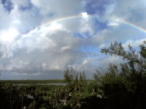 This was another rainbow, from the front porch, looking toward Eleuthera from Windermere and over Savannah Sound.
