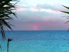"This rainbow was out over the Atlantic, as seen from the back deck of ""Ocean Daze,"" on Windermere Island."